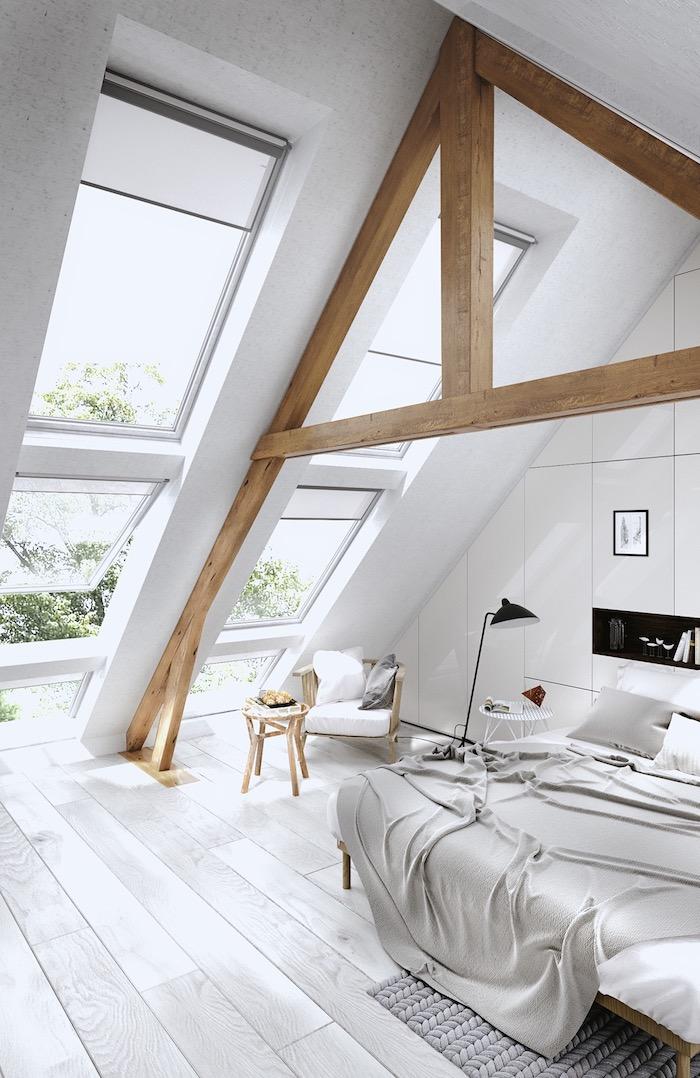 zimmer mit dachschräge optisch vergrößern, weiße wände, viel licht, einrichtung in landhausstil