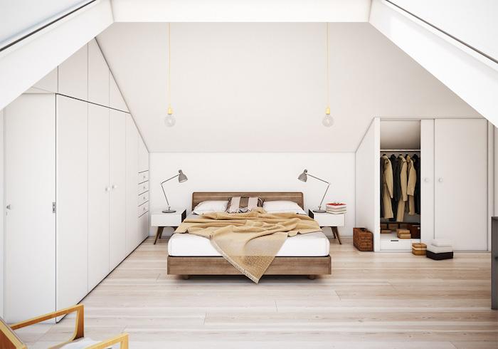 zimmer mit dachschräge optisch vergrößern, weiße wände, boden aus hellem holz