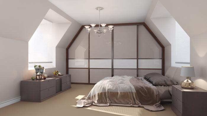 zimmer mit dachschräge optisch vergrößern, einrichtung in weiß und braun, möbel set, kronelcuhter