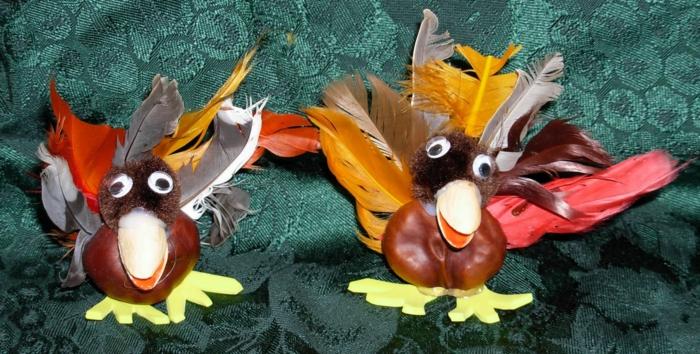 zwei Pfaune, bunte Federn, Köpfchen aus Pompons, Schnabel aus Nüsse, Bastelideen mit Kastanien