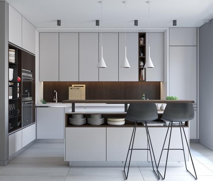 kleines zimmer einrichten, küche gestalten, weiße schränke, graue barstühle, kücheninsel