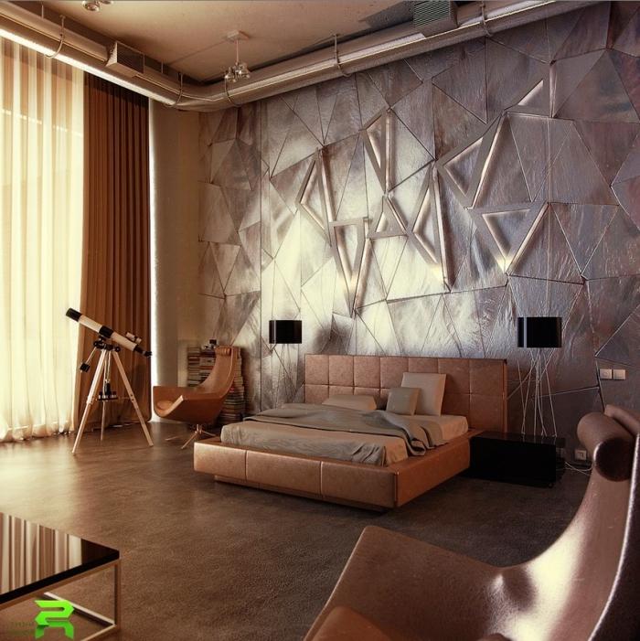 zimmer ideen, wanddeko schlafzimmer, geometrische paneele mit led beluchtung, designer möbel