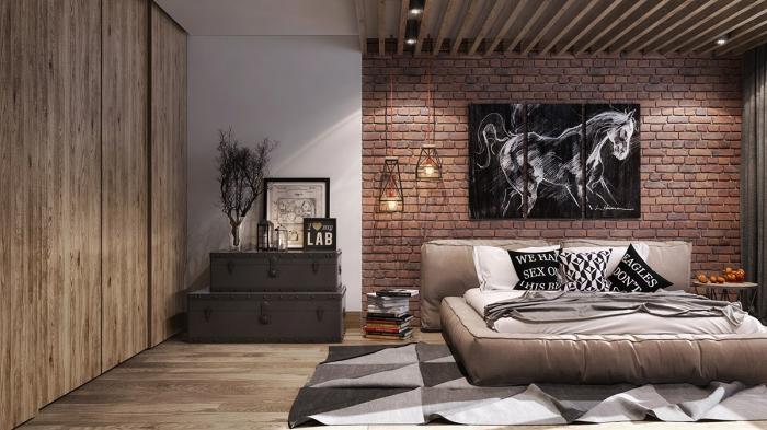 moderne zimmer ideen, jugendzimmer einrcihten, ziegelwand über dem bett, leinwandbilder mit pferd, lederbett