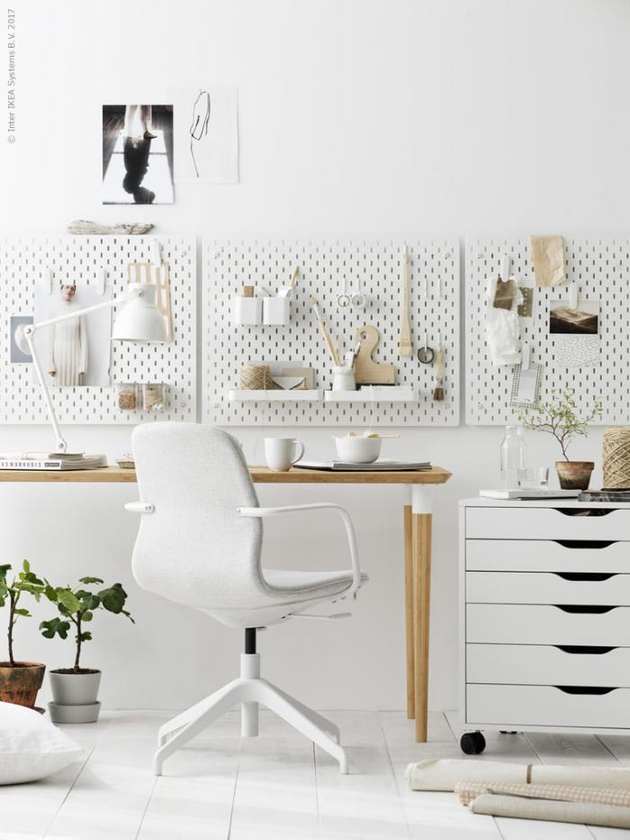 zimmer eirncihten ideen, büro gestalten, weiße wände, schrank mit vielen schubladen, weißer bürostuhl