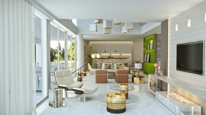 wohnung einrichten, moderne wohnzimmereinrichtung in weiß, möbel mit goldenen elementen