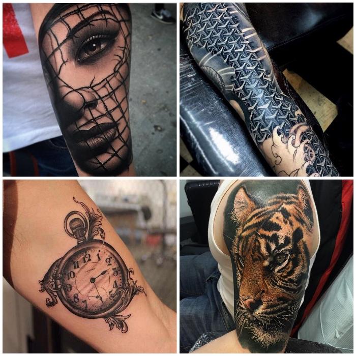 3d tattoo am arm, frauengesicht mit netz, vintage uhr, realitischer tigerkopf am oberarm