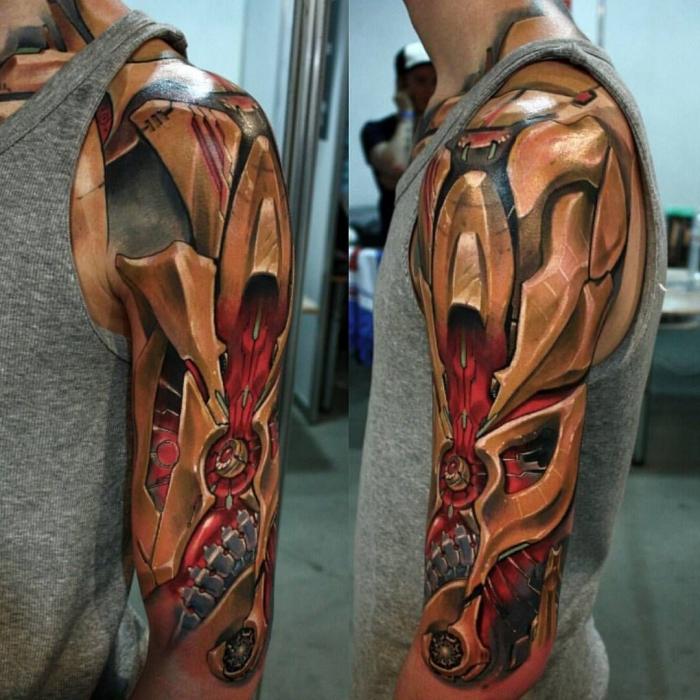 3d tattoos für männer, farbige tätowierung, cyborg tattoo am oberarm, biomechanisch