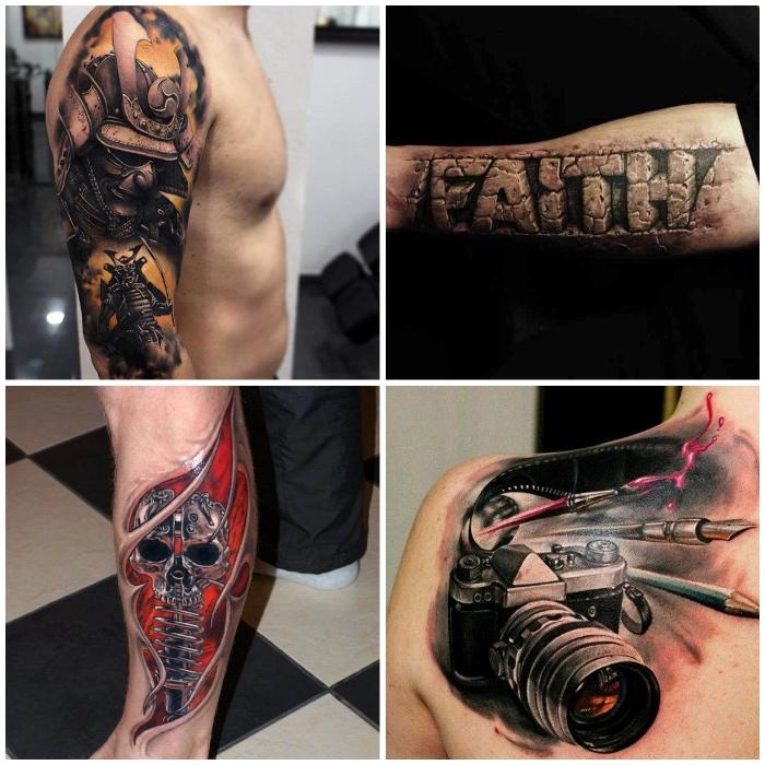 3d tattoos für männer, großes samurai tattoo am oberarm, realitische buchstaben, schädel aus metalenen elementen, fotoapparat