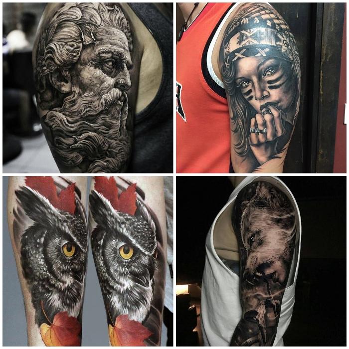 3d tattoos, griechicher gott, frau mit indiander kopfschmuck, eule in kombination mit herbsblättern, wohlkopf