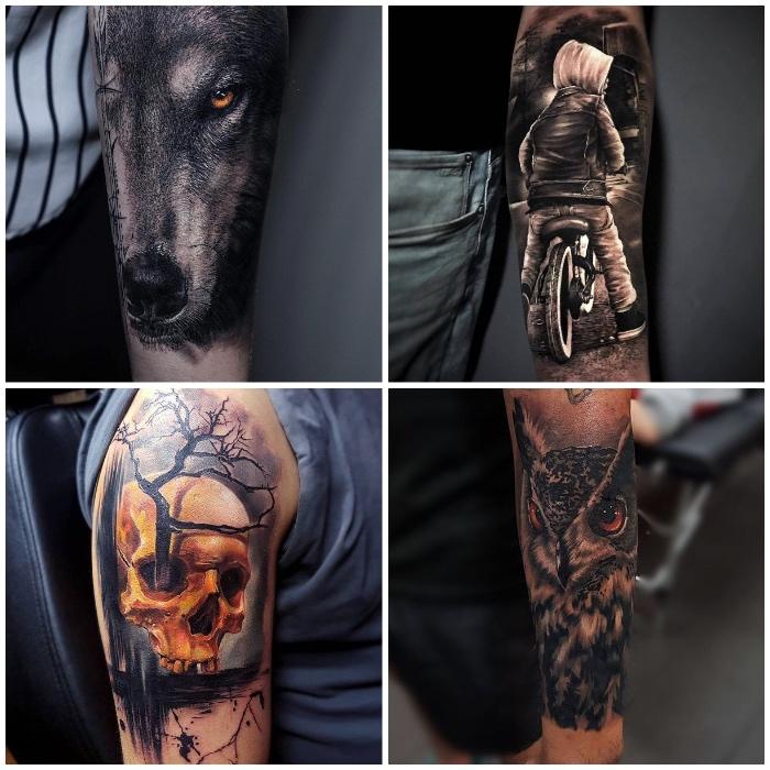 3d tattoos, realitische tätowierungen, wolf mit orangenfarbenen augen, schädel in kombination mit baum, kind mit fahrrad