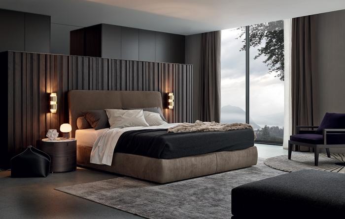 wohnungseinrichtung ideen, modernes schlafzimmer design, braunes bett, runde nachttische