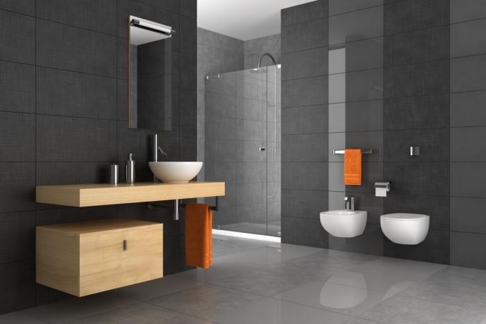 zimmer gestaltne, badezimmer in anthrazit, orangenfarbene tücher, runder wachbecken