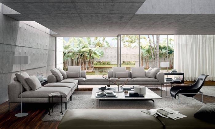 wohnung einrichten, wände in beton optik, wohnzimmer einrichtungsideen, großes graues ecksofa