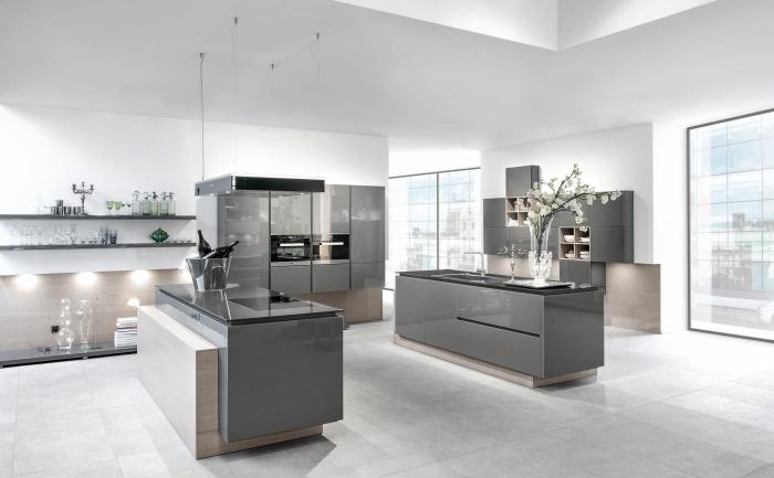 küche gestalten, graue schränke, wohnungseinrichtung ideen, weiße wände