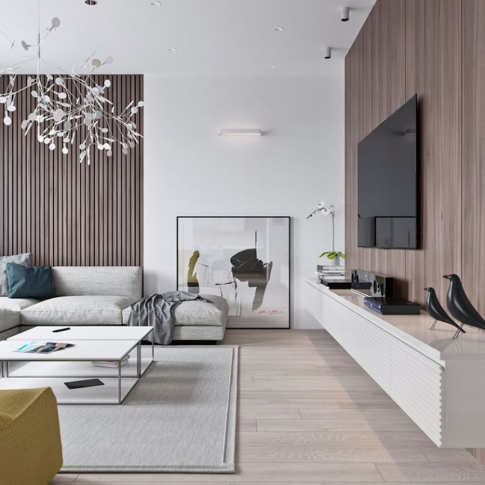 zimmer deko ideen, wohnzimmer gestalten, große weiße deckenlecuhte, wandpaneele aus holz, schwarze vögel