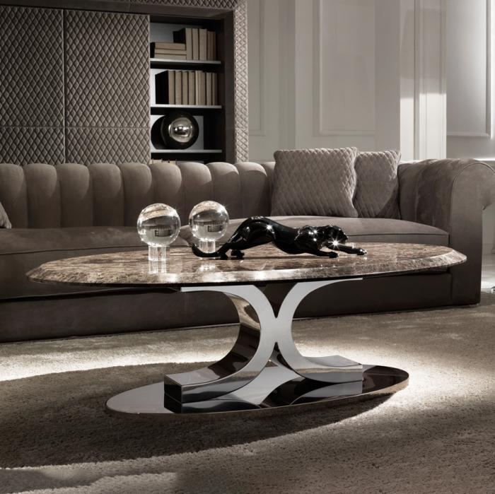 zimmer deko, wohnzimmer gestalten, designer möbel, glasbäle als tischdeko, schwarze katze, jaguar