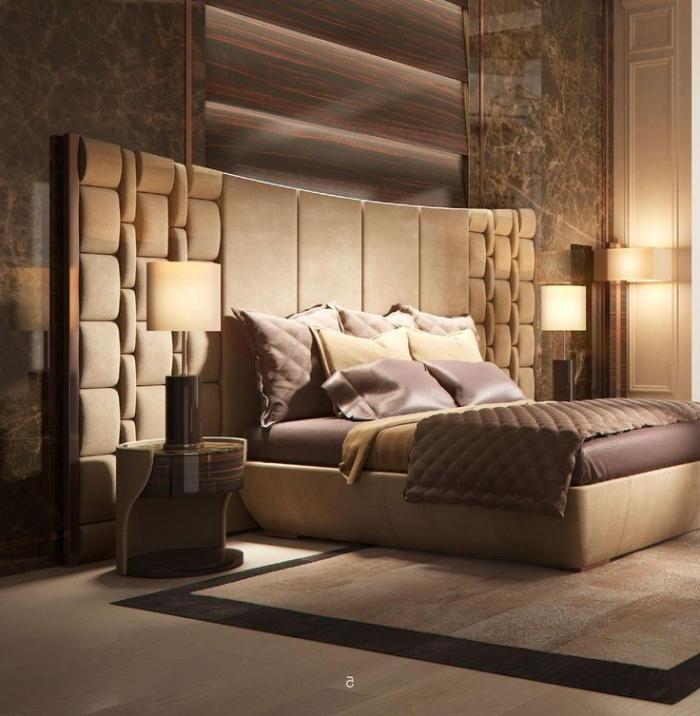 zimmer gestalten, designer möbel, bett mit hoher kopfplatte, runder nachttisch, schlafzimmer belecuhtung