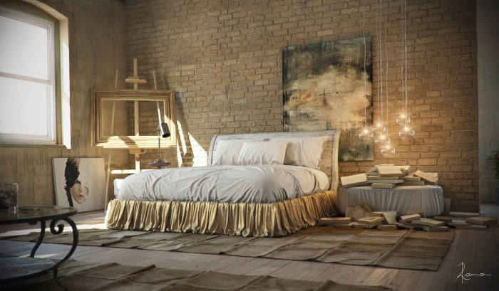 zimmer ideen, große ziegelwand, moderner industrial stil, schlafzimmergestaltung, runde hängeleuchten