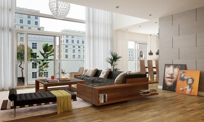 zimmer deko ideen, wohnzimmer gestalten, eckfosa mit integrierten regalen aus holz, zwei bilder, boden aus holz