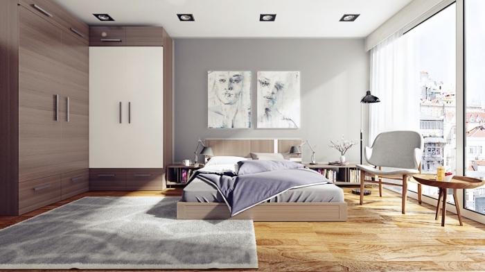 schlafzimmer gestalten, zimmer ideen, möbel set in weiß udn braun, zwei abstrakte bilder, frauengesichter