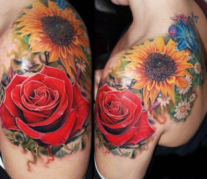 tätowierung mit blumen als motiv, amazing tattoos für frauen, sonnenblume und rote rose