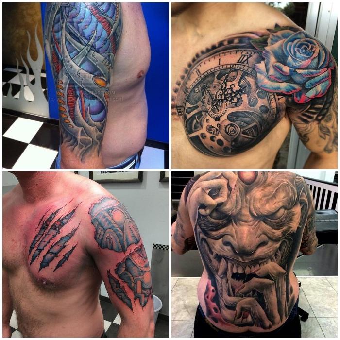 amazing tattoos für männer, großer uhr mit blauer rose, zerrissene haut, machanischen motiven