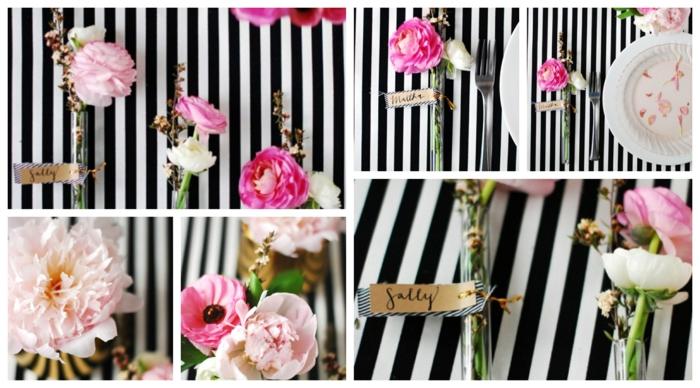rosa Blumen in dünnen Vasen Deko für Hochzeit mit Anhänger für den Namen