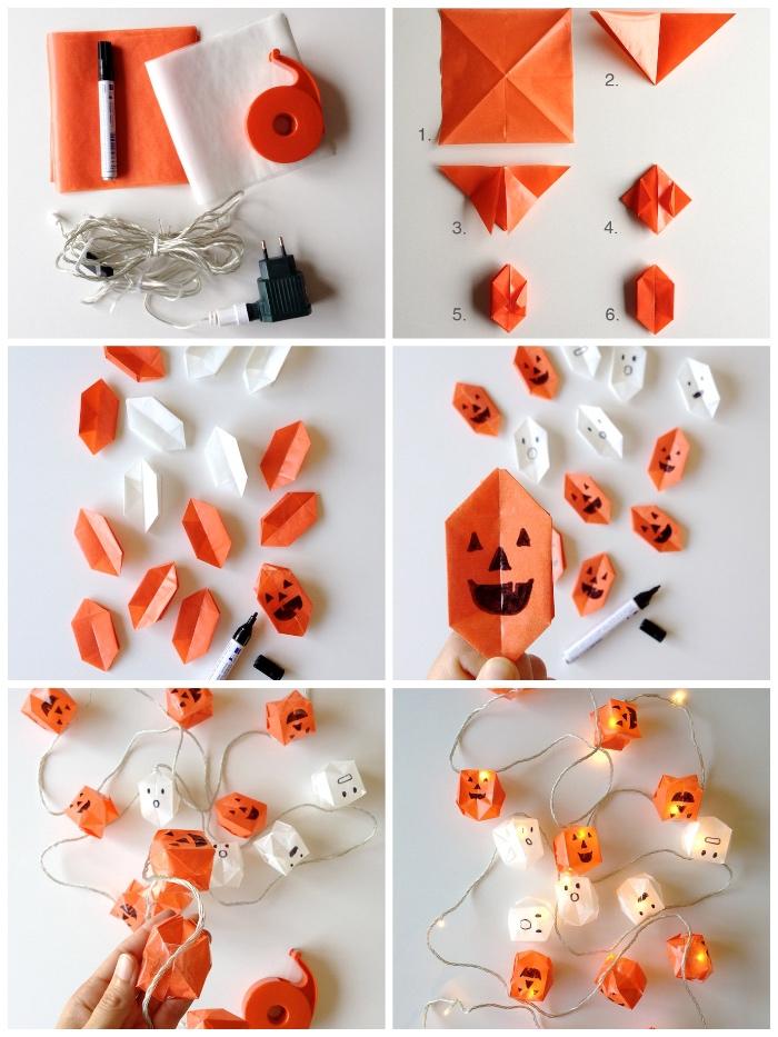 bastelideen halloween, basteln mit papier, origami kürbisse falten, licherkette deko