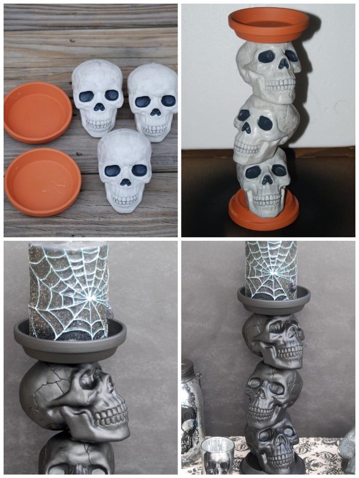 bastelideen halloween, kerzenhalter selber machen aus schädeln und blumentopfplatten