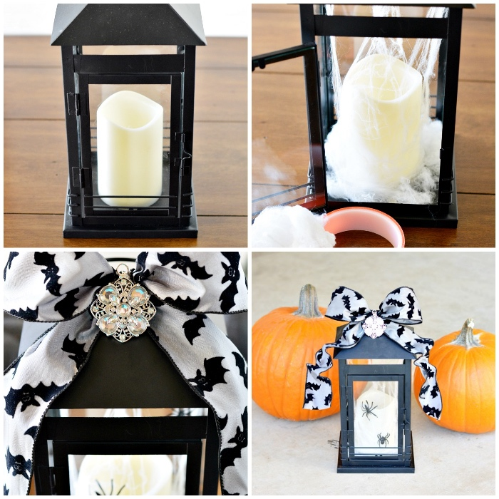 bastelideen halloween, laterne aus glas und metall, weiße kerze, zwei kürbisse, schleife