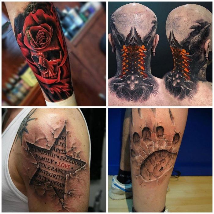beste tattoos, 3d tätowierungen, roter schädel in rose, stern mit schriftzüge, bärenpranke