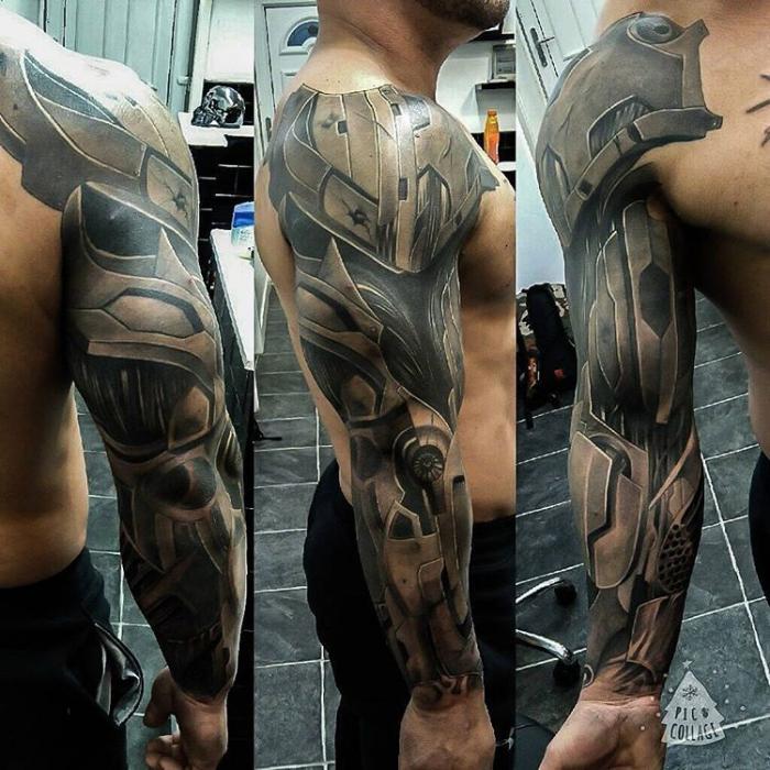 mann mit sleeve tattoo, beste tattoos der welt, tätowierung in schwarz und grau