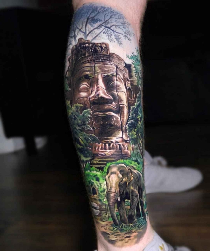 beste tattoos für männer, 3d tätowierung am bien, große statue, elefant