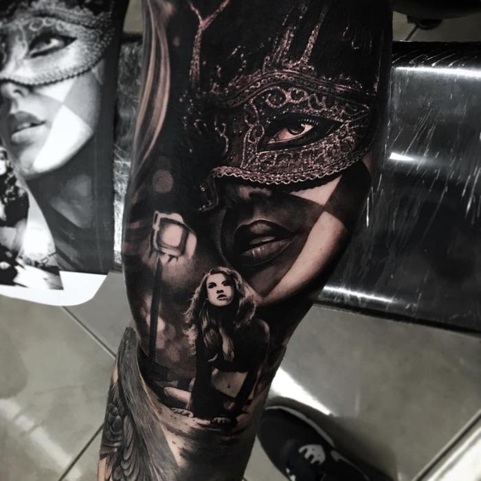 beste tattoos für männer, fraue mit maske, frauengesicht am arm, blackwork