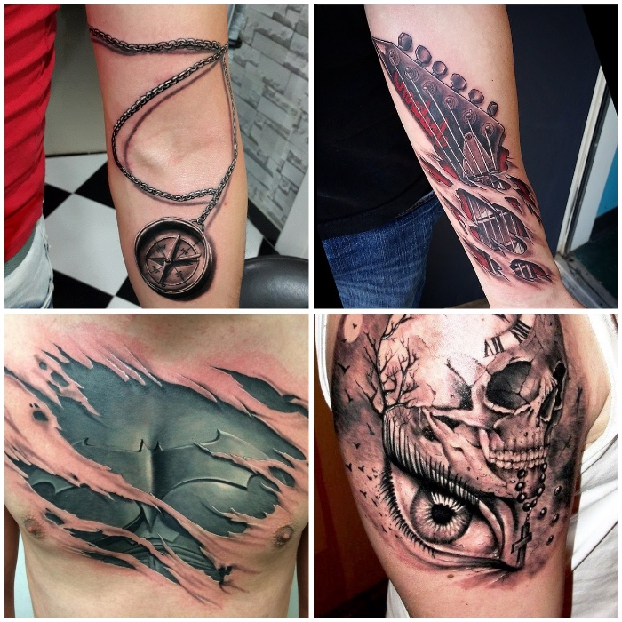 beste tattoos für männer, kompass am arm, zerrissene haut, auge in kombination mit schädel, guitar
