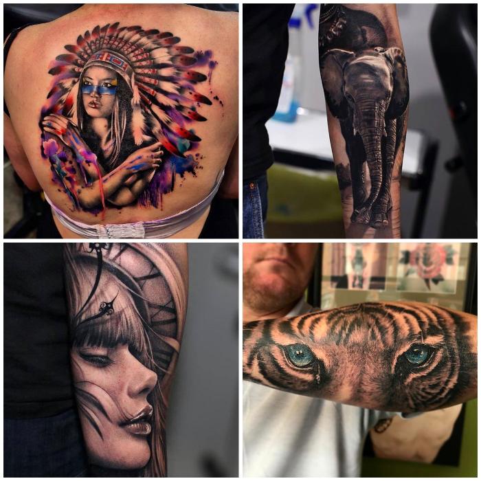 beste tattoos, große tätowierung am rüchen, frau mit indianer kopfshcmuck, frauengesicht mit uhr, rigeraugen