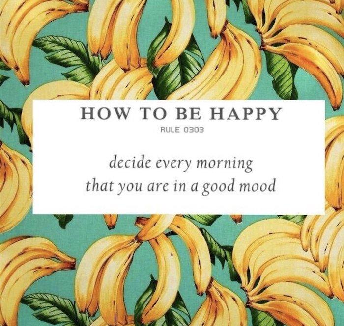 how to be happy, guten morgen bilder für whatsapp kostenlos, bild mit gelben bananen und vielen grünen blättern
