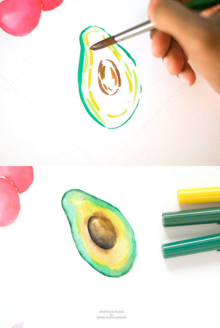 Avocado zeichnen mit Filzstiften und Aquarellfarben, Zeichnen für Anfänger, leichte Zeichnungen
