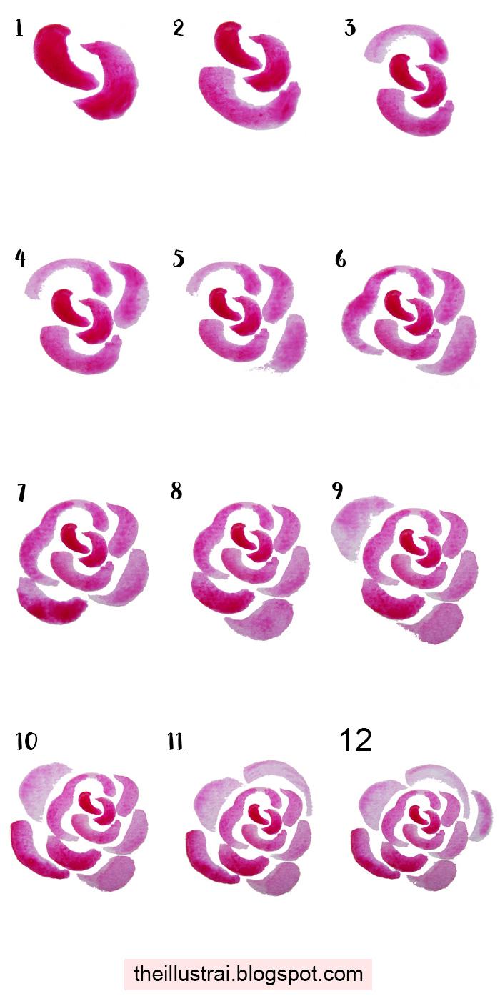 Wie zeichnet man eine Rosenblüte mit Aquarellfarben, ausführliche Anleitung in zwölf Schritten