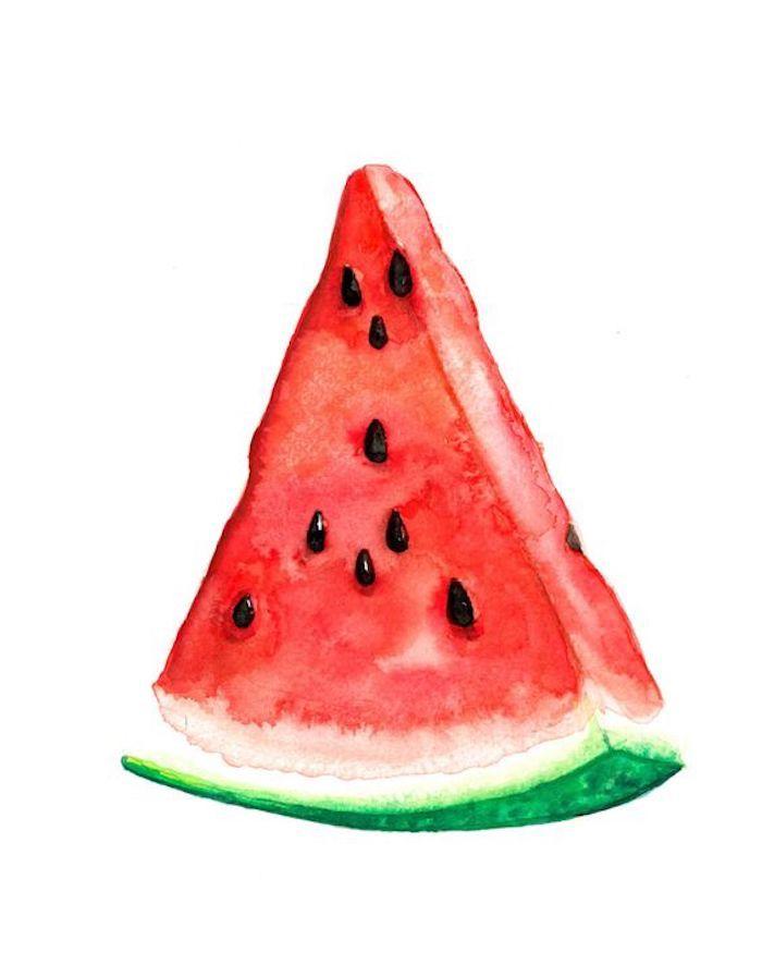 Ein Stück Wassermelone mit Aquarellfarben zeichnen, schönes Bild zum Nachmalen für Anfänger