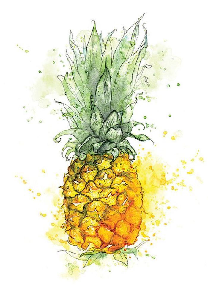 Ananas zeichnen mit Aquarellfarben, Früchte zeichnen lernen, leichte Zeichnungen für Anfänger