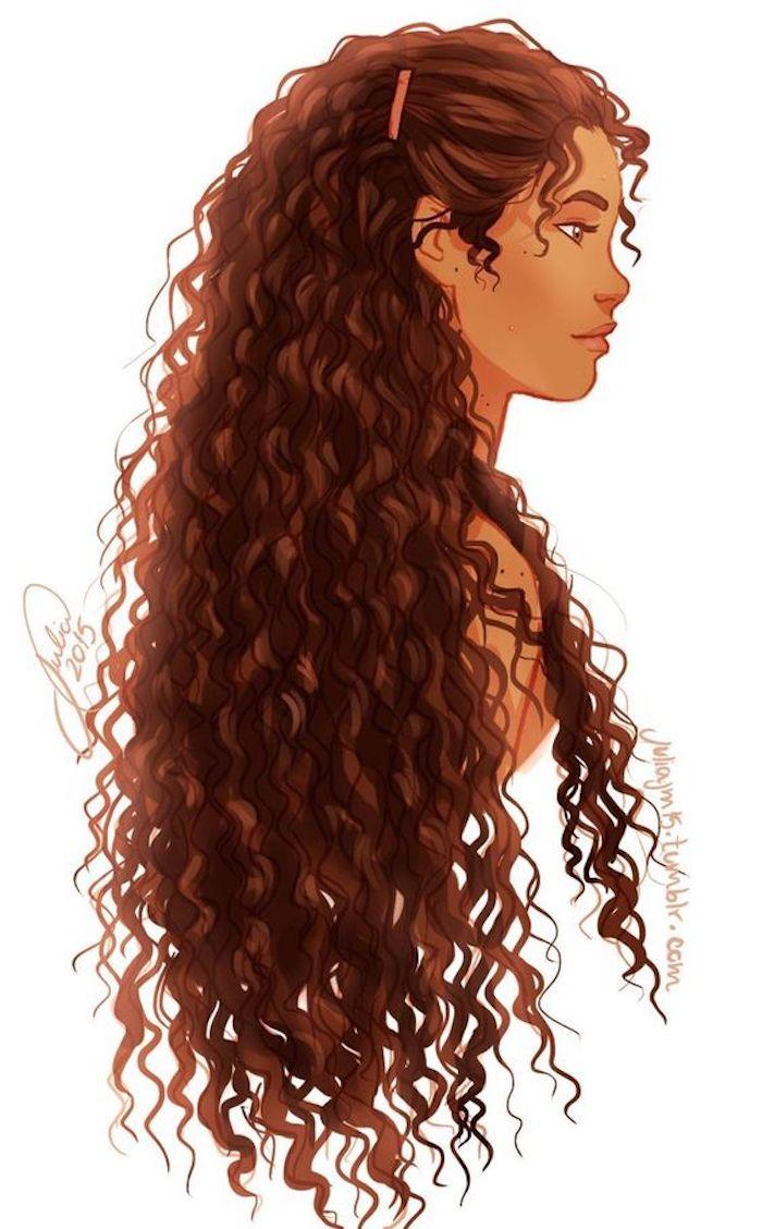 Frau mit langen lockigen braunen Haaren und gebräuntem Teint zeichnen, schönes Bild zum Nachmalen
