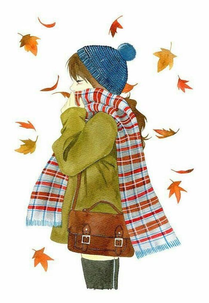Mädchen mit Mütze und Schal, grüne Jacke und braune Ledertasche, bunte Herbstblätter