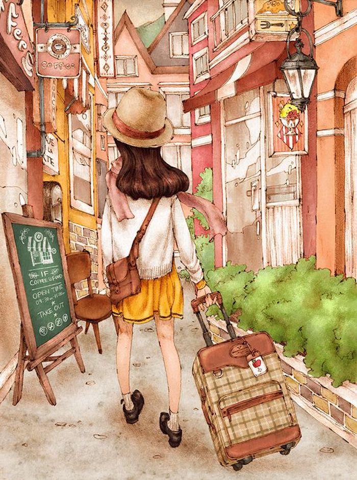 Schönes Bild zum Nachmalen, Touristin mit Koffer und Sommerhut, gelber Rock und weißer Cardigan