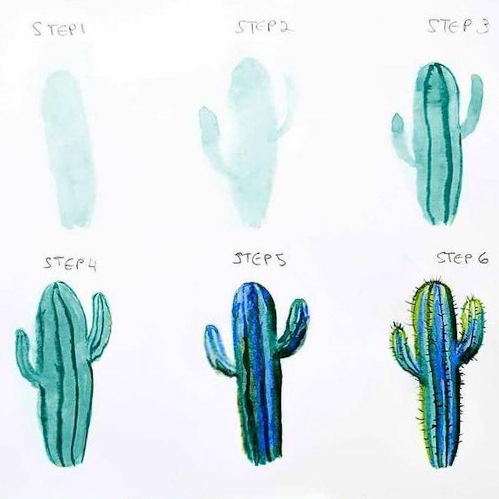 Wie zeichnet man einen Kaktus, Anleitung in sechs Schritten, Malen mit Aquarellfarben für Anfänger