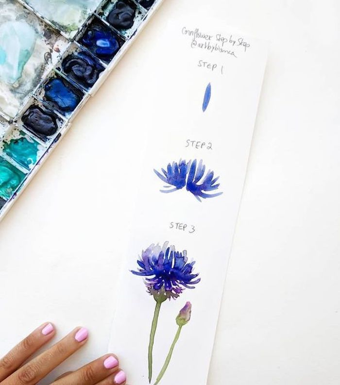 Blume zeichnen lernen, schönes Bild zum Nachmalen, Malen mit Aquarellfarben für Anfänger