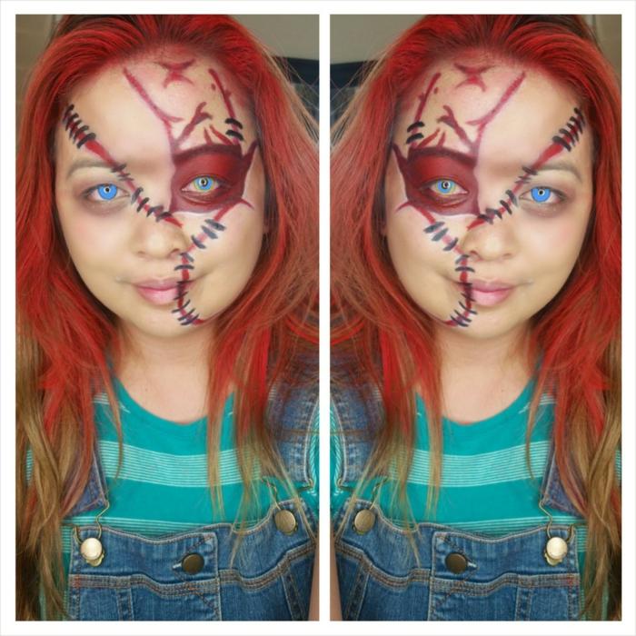 rote Perüke, passendes Make up, blaue Kontaktlinsen, Kinderschminken für Halloween