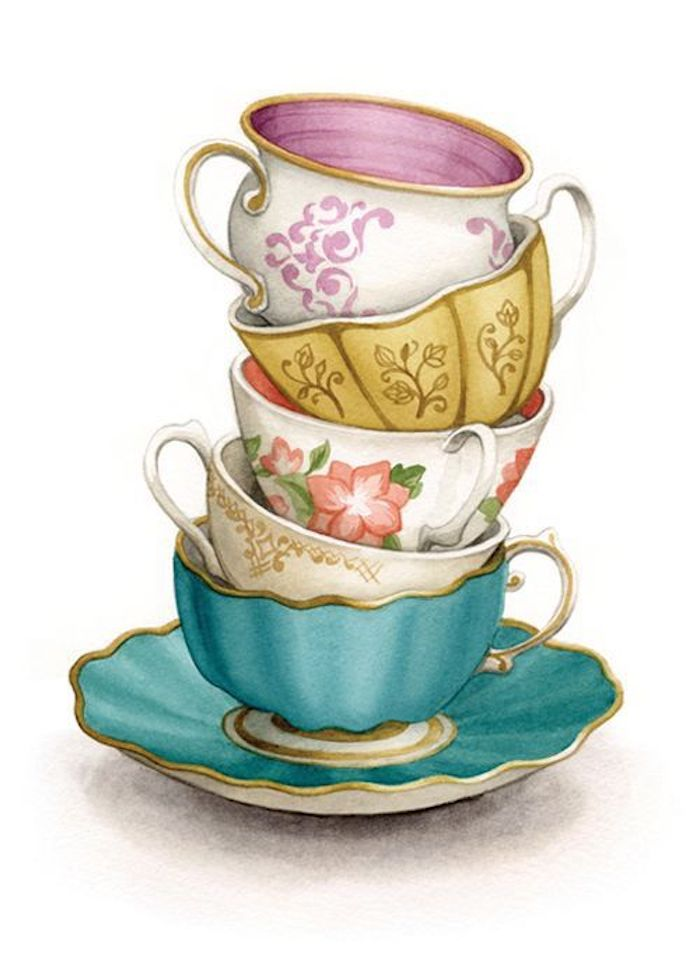 Teetassen aus Porzellan aufeinander gestellt, mit Blumen Motiven, schönes Bild zum Nachmalen
