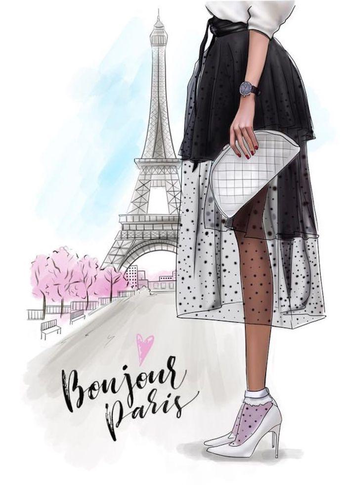 Schönes Bild zum Nachmalen, der Eiffelturm und Aufschrift Bonjour Paris, Frau mit langem schwarzem Rock und weißen High Heels