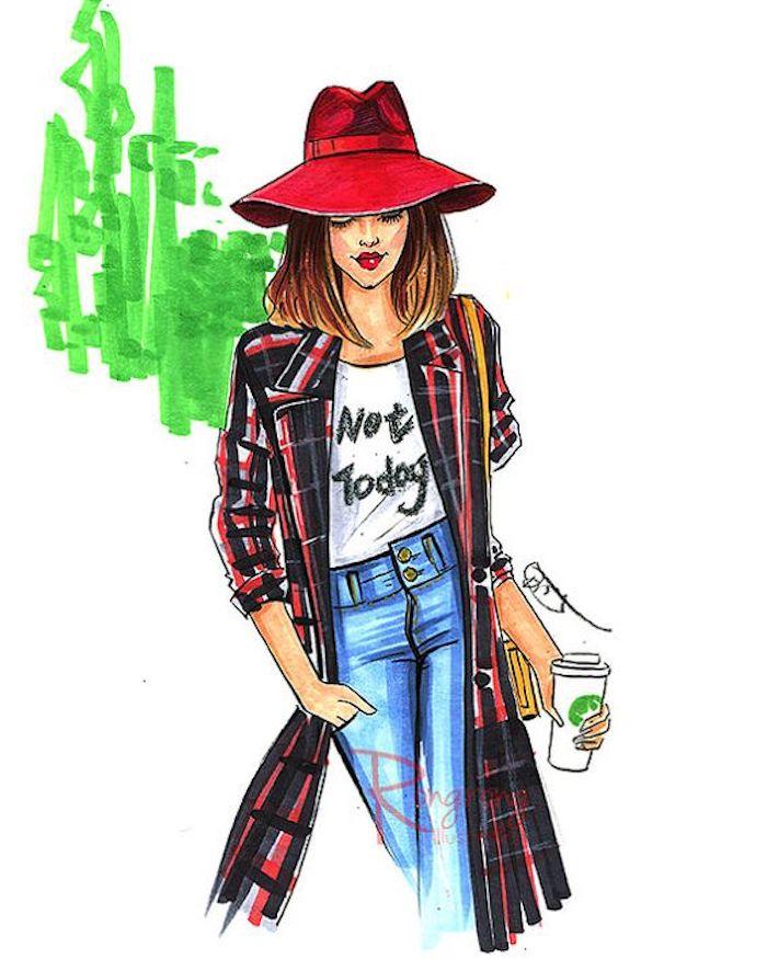 Frau zeichnen lernen, mit rotem Hut, weißem Shirt, Jeans und langem Mantel, mit mittellangen braunen Haaren